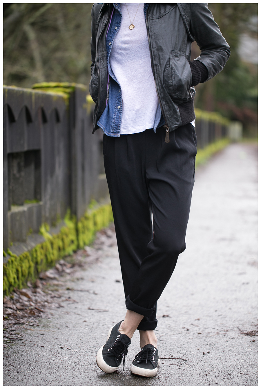 Blog Doma Leather Bomber Jacket Gap Denim Shirt Zara J Brand Irene Pant Black Superga-2