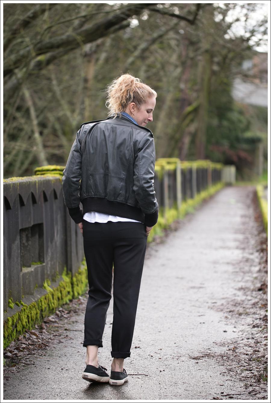 Blog Doma Leather Bomber Jacket Gap Denim Shirt Zara J Brand Irene Pant Black Superga-3