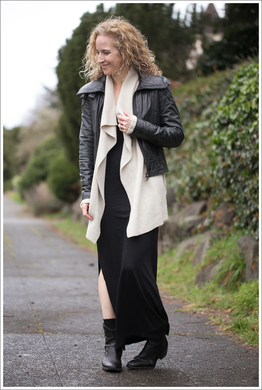 Blog Doma Leather Jacket Vince Drape Front Cardigan StyleMint Eva Maxi Dress Born Booties-1