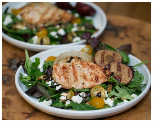 blog Grilled Chicken Onions and Plum Salad with Goat Cheese Salad-4