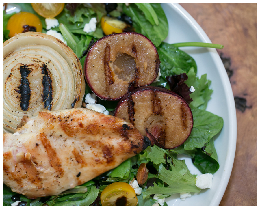 blog Grilled Chicken Onions and Plum Salad with Goat Cheese Salad-8