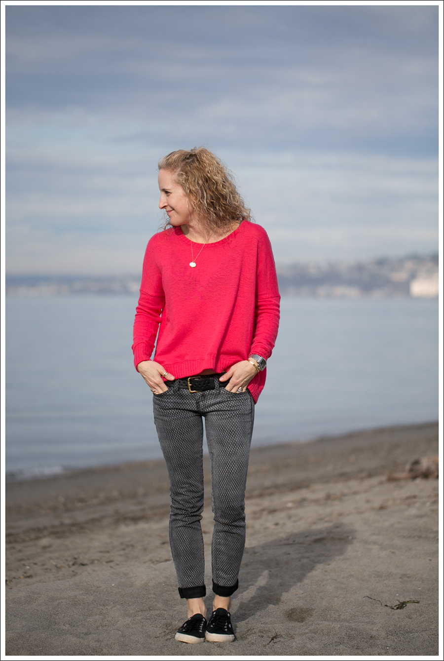 Blog Heather Red Zip Back Sweater Current Elliott Mesh Print Ankle Skinny Black Superga-1