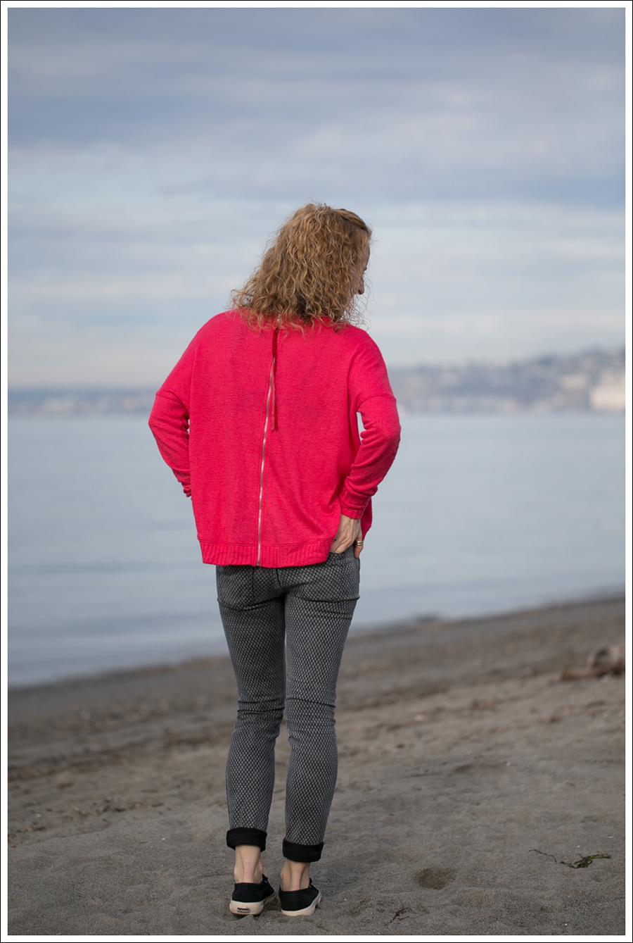 Blog Heather Red Zip Back Sweater Current Elliott Mesh Print Ankle Skinny Black Superga-2