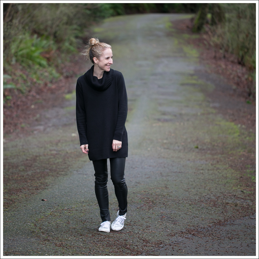 Blog HM Black Cowl Neck Tunic Sweater Genetic Denim Shya Leather Pants Studded Superga-1