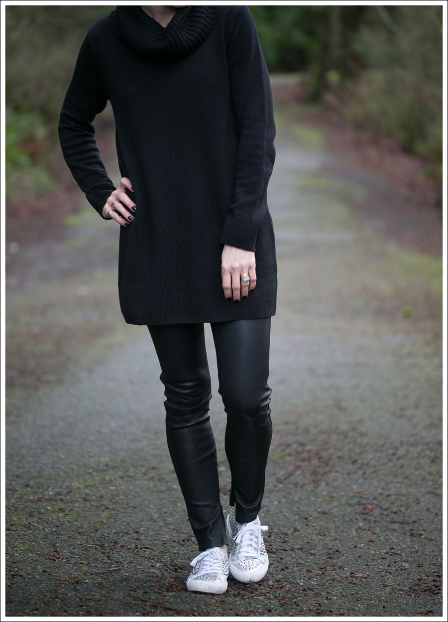 Blog HM Black Cowl Neck Tunic Sweater Genetic Denim Shya Leather Pants Studded Superga-2