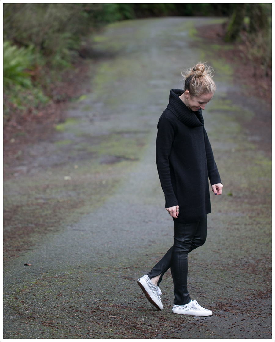 Blog HM Black Cowl Neck Tunic Sweater Genetic Denim Shya Leather Pants Studded Superga-3