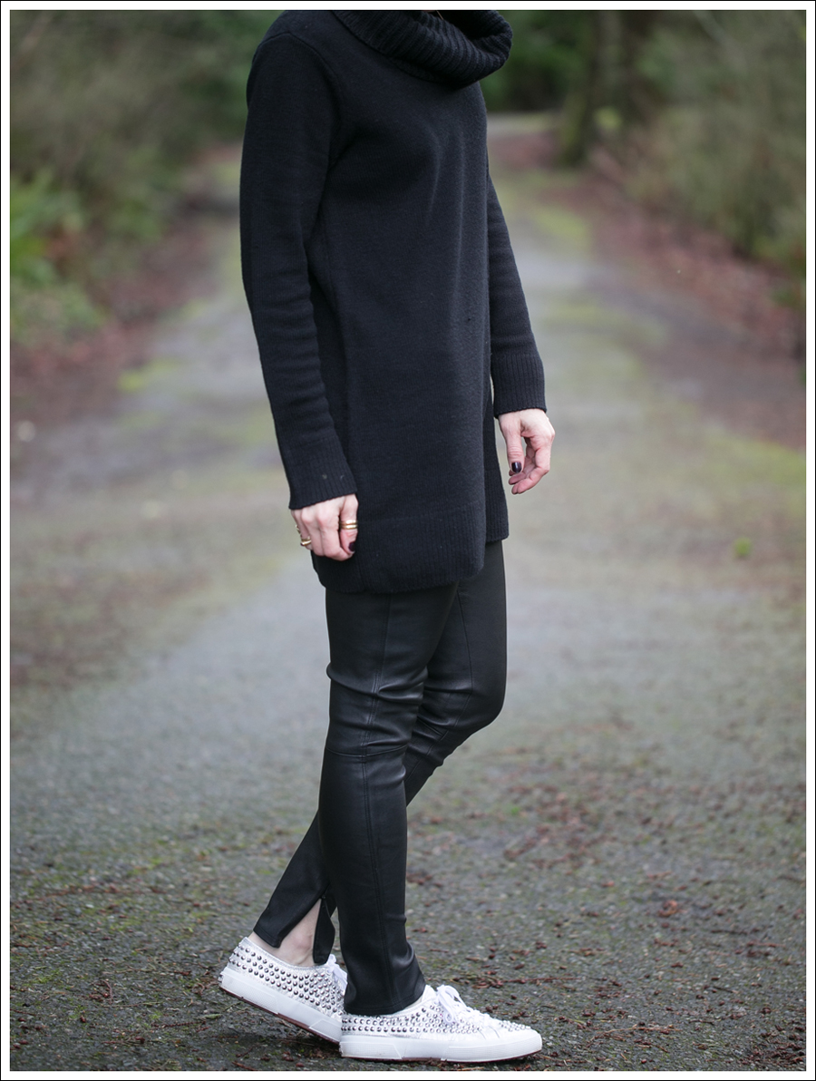 Blog HM Black Cowl Neck Tunic Sweater Genetic Denim Shya Leather Pants Studded Superga-4