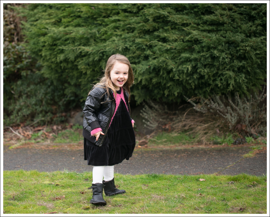 Blog HM Faux Leather Jacket Il etait une fee Cardigan Hanna Andersson Black Velour Twirl Dress Mexx Booties-3