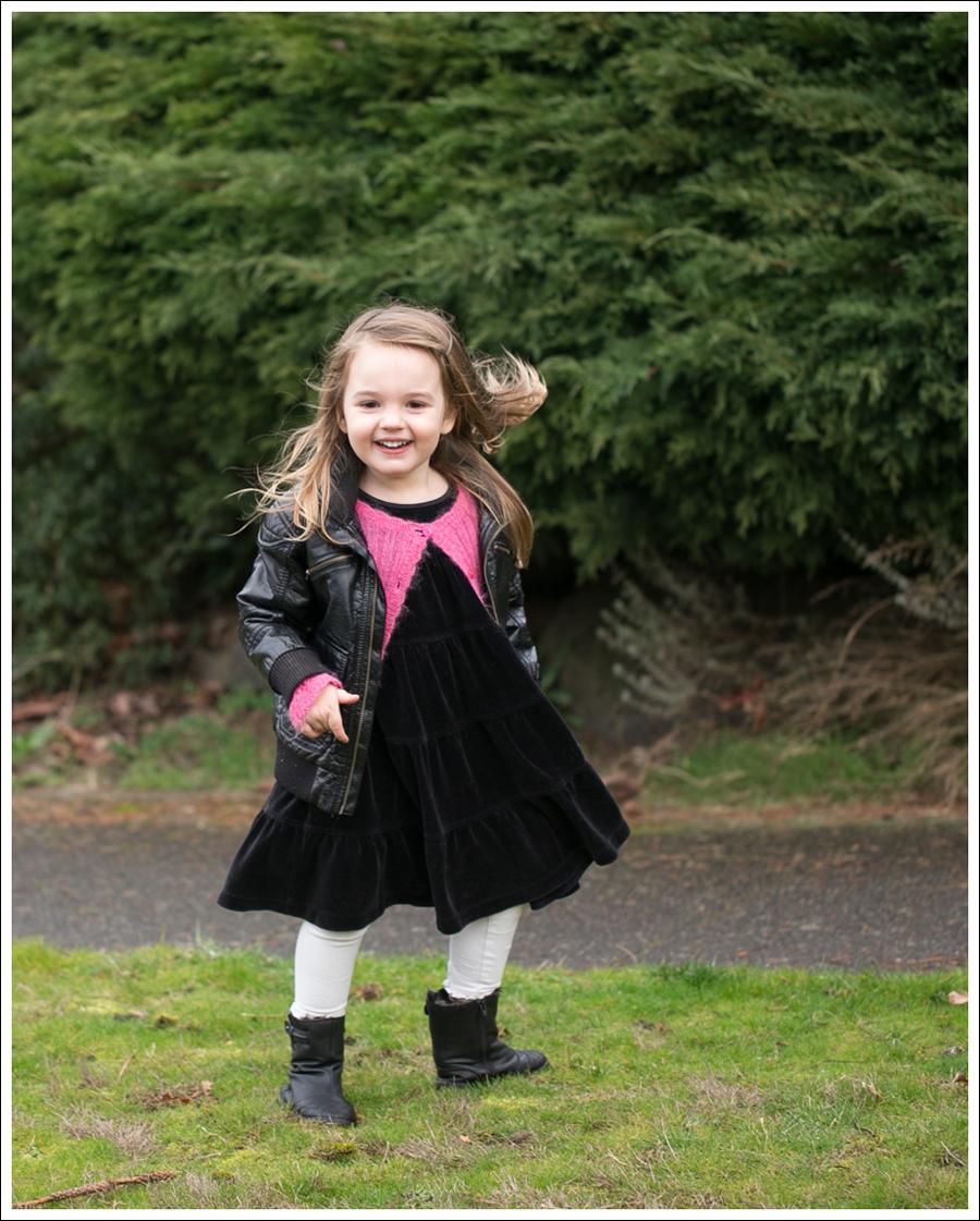Blog HM Faux Leather Jacket Il etait une fee Cardigan Hanna Andersson Black Velour Twirl Dress Mexx Booties-5