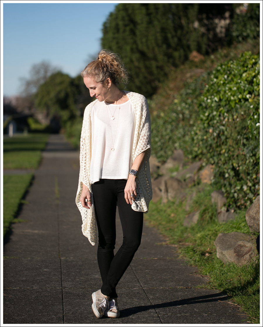 Blog Lily McNeal Open Knit Crochet Cardigan UO Corner Shop Tee DL1961 Emma Riker Gold Superga-1