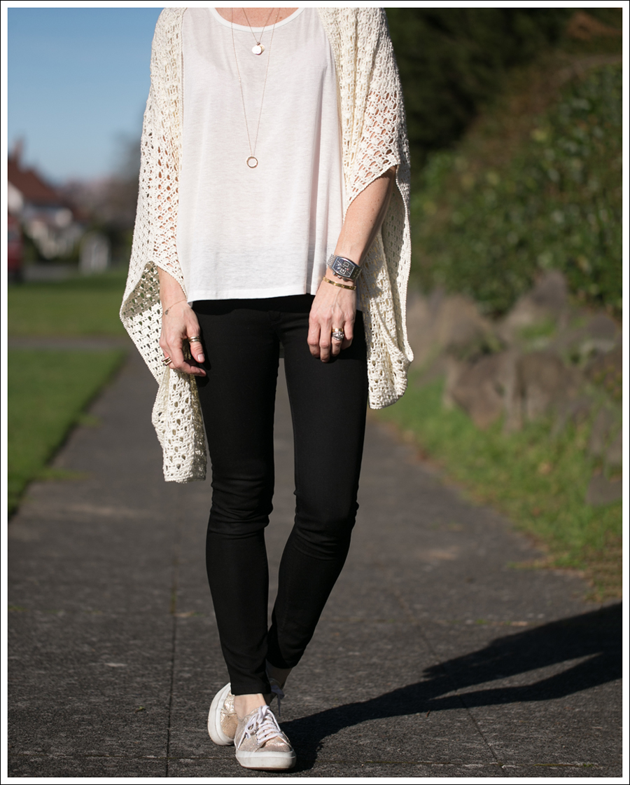 Blog Lily McNeal Open Knit Crochet Cardigan UO Corner Shop Tee DL1961 Emma Riker Gold Superga-2