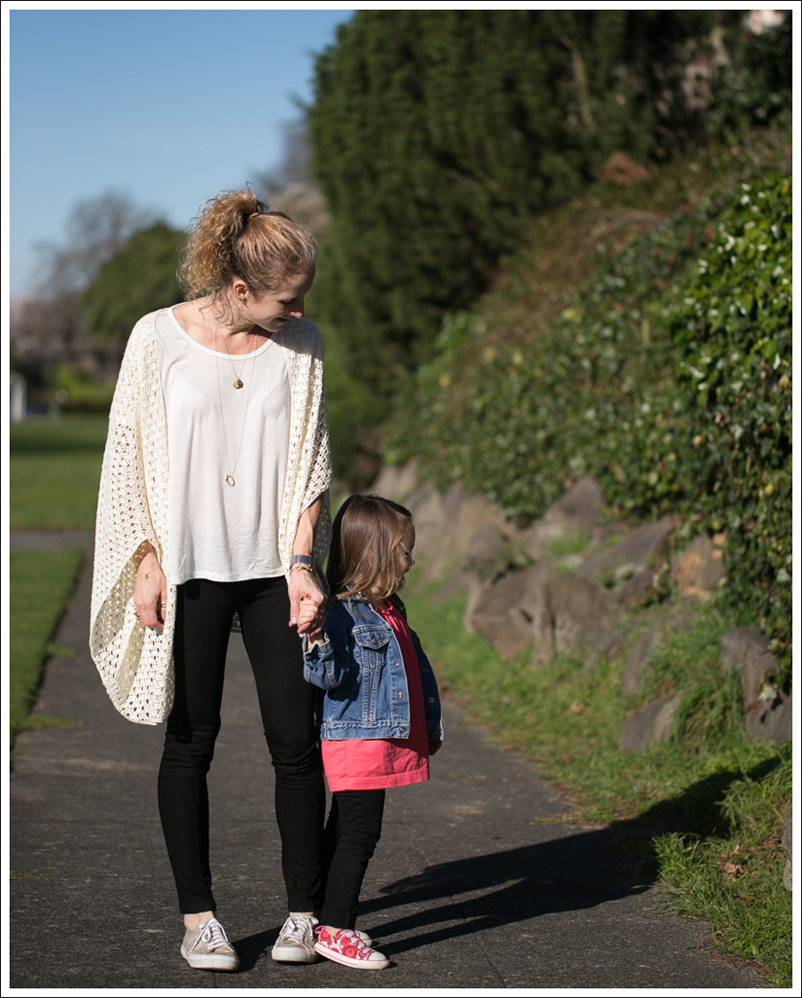 Blog Lily McNeal Open Knit Crochet Cardigan UO Corner Shop Tee DL1961 Emma Riker Gold Superga-4