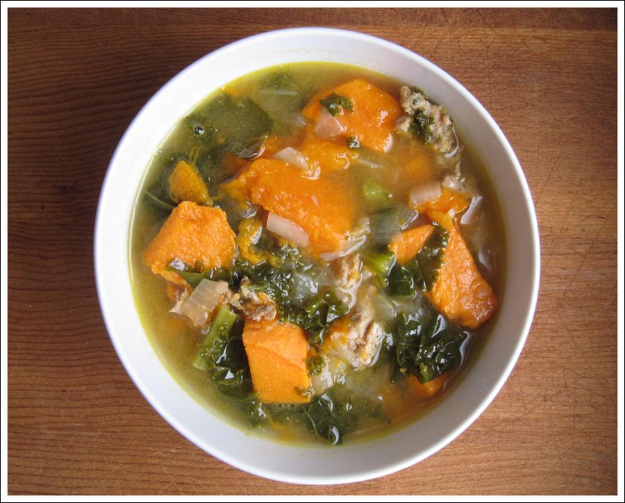 Blog sausage kale sweet potato soup 1
