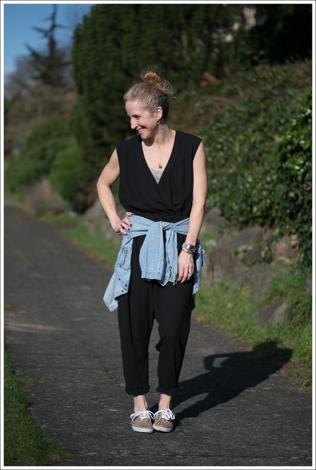 Blog The Fifth Label Drop-Crotch Jumpsuit Levis Denim Shirt Leopard HM Shoes-1