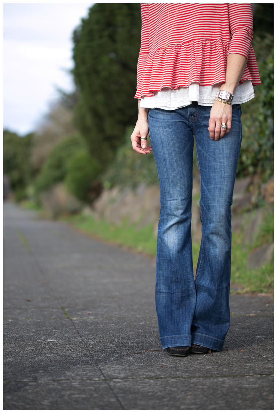 Blog We the Free Free People Peplum Tee Hudson Ferris Flare Jeans Sam Edelman Moccasin Wedge-1