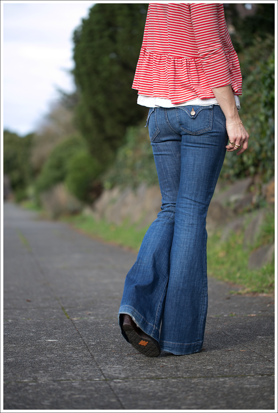 Blog We the Free Free People Peplum Tee Hudson Ferris Flare Jeans Sam Edelman Moccasin Wedge-2