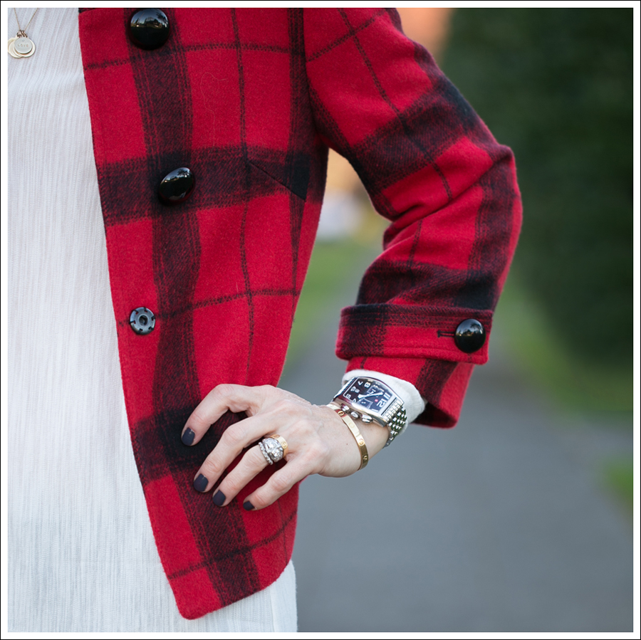Blog Elliott Lauren Buffalo Plaid Jacket Zara Asymetrical Tee DL1961 Joy Flare Jeans Joan David Boots-1
