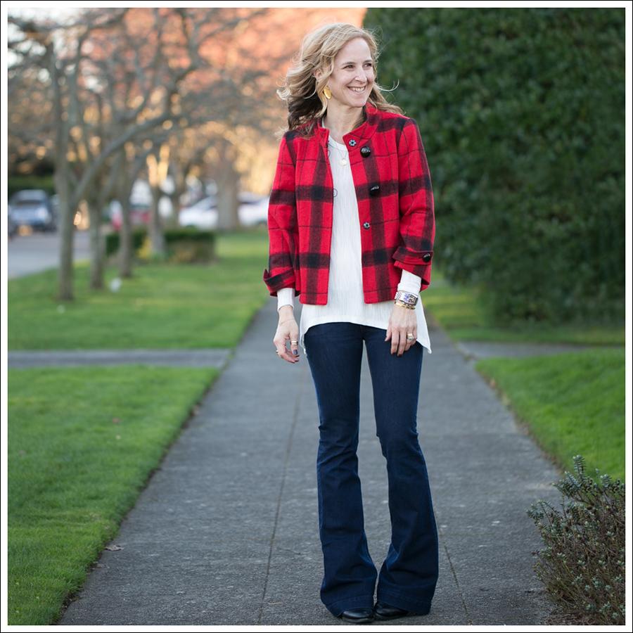 Blog Elliott Lauren Buffalo Plaid Jacket Zara Asymetrical Tee DL1961 Joy Flare Jeans Joan David Boots-2
