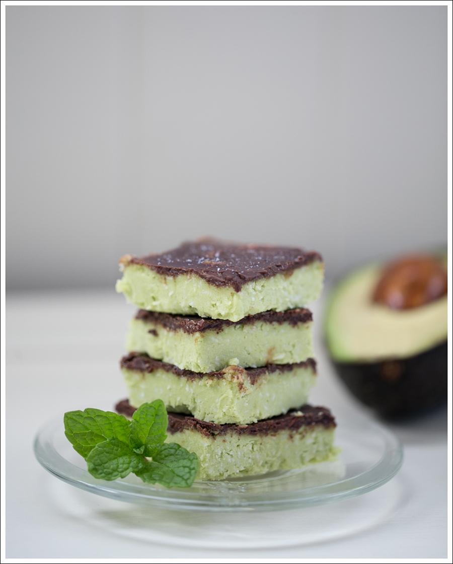 Blog Paleo Vegetarian No Bake Avocado Chocolate Mint Bars-1
