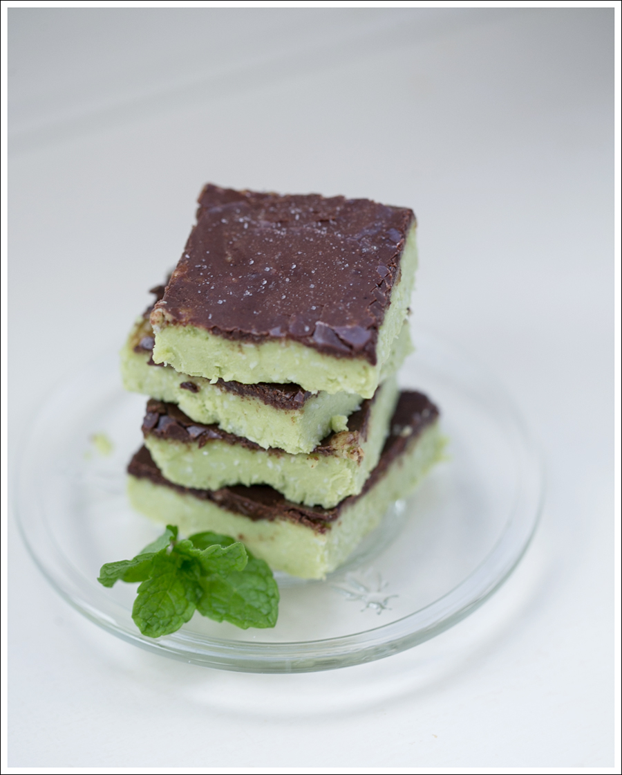 Blog Paleo Vegetarian No Bake Avocado Chocolate Mint Bars-3