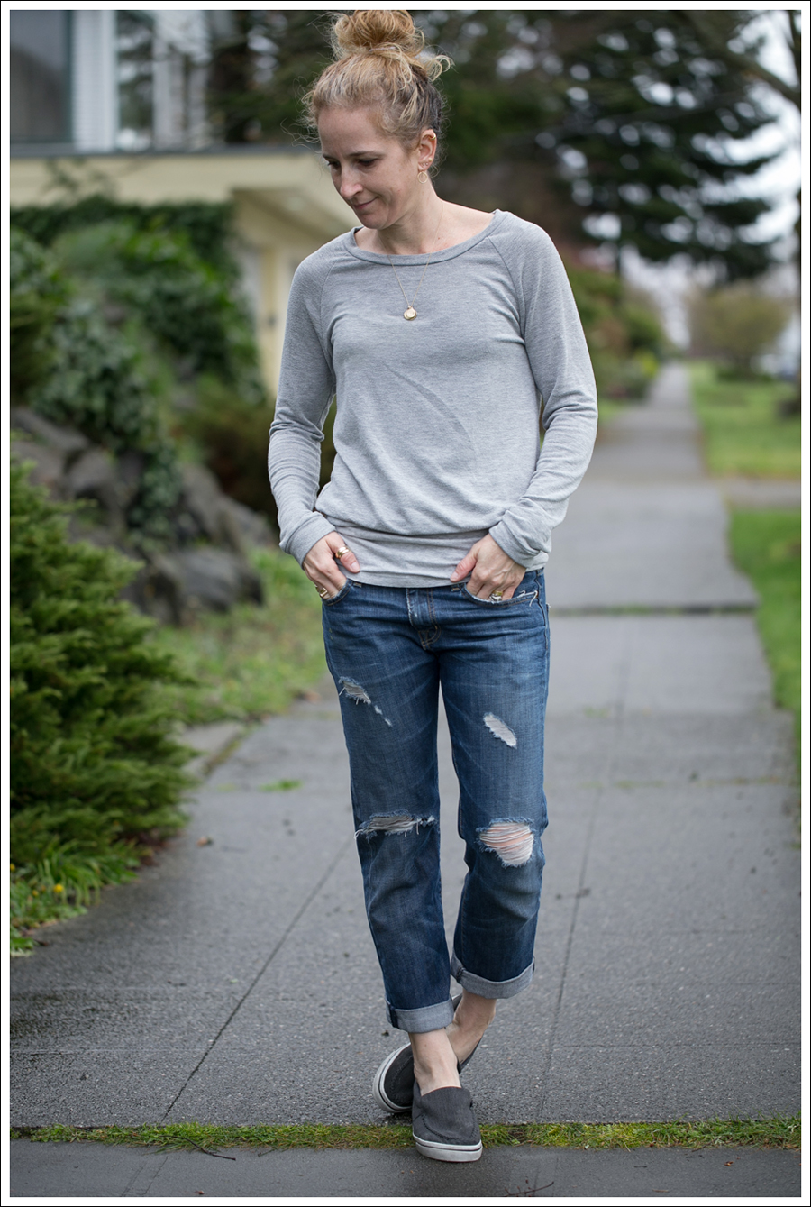Blog StyleMint Sweatshirt Current Elliott Destroyed Boyfriend Jeans Airwalk Slip Ons-1