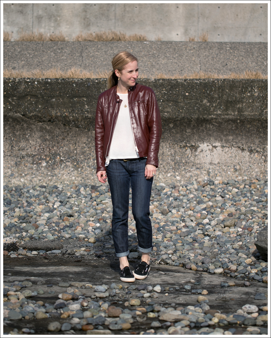 Blog Vintage Leather Jacket UO Corner Shop Tee 7FAM Roxanne Skinny Boyfriend Black Superga-1