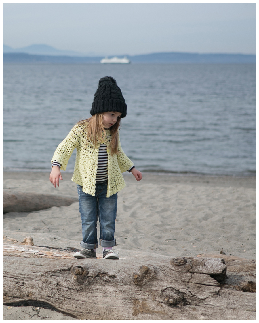 Blog Vintage Yellow Handknit Cardigan HM hat Tea Striped Tee Joes Jeans Black Converse-1