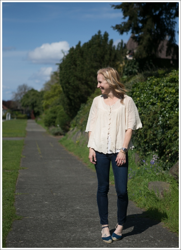 Blog See by Chloe Cream Scalloped top DL1961 Angel Faconnable Navy suede espadrilles-1
