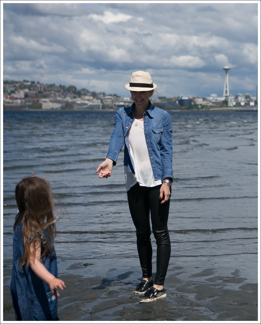 Blog HM Fedora Gap Denim Shirt Corner Shop Tee Blank NYC Vegan Leather Leggings Black Superga-3