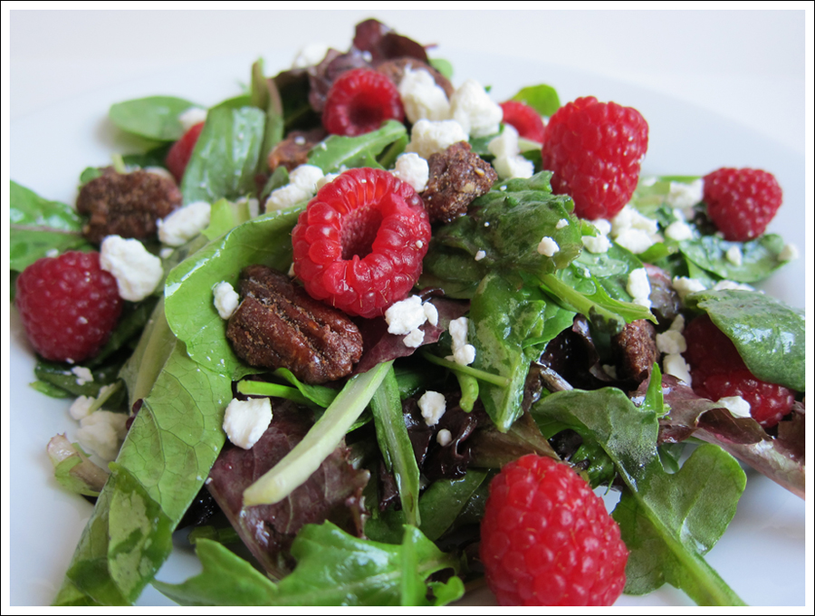 Blog salad with berries nuts goat cheese