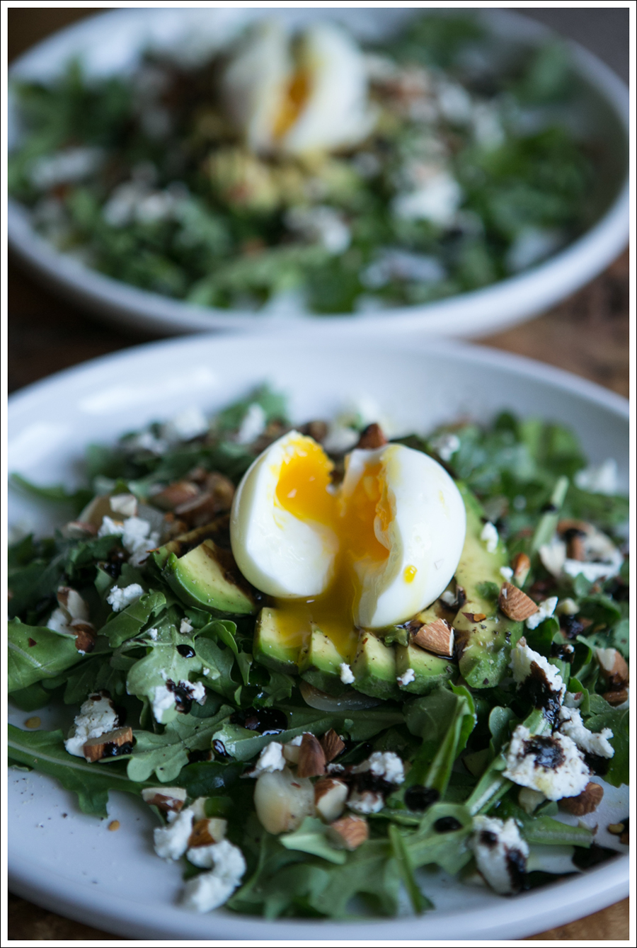 Blog Soft Boiled Egg Avocado Arugalo Goat Cheese Almond Salad-1