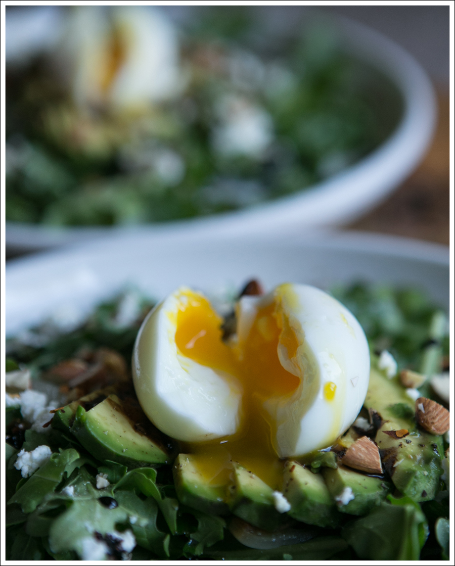 Blog Soft Boiled Egg Avocado Arugalo Goat Cheese Almond Salad-2