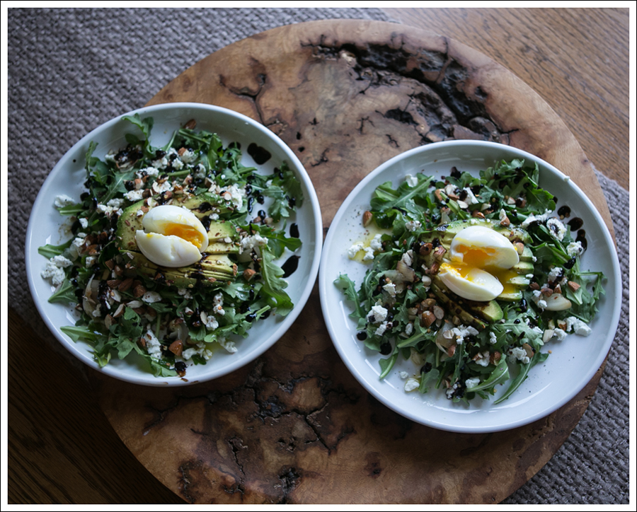 Blog Soft Boiled Egg Avocado Arugalo Goat Cheese Almond Salad-3
