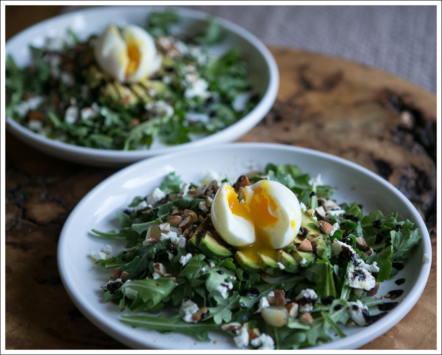 Blog Soft Boiled Egg Avocado Arugalo Goat Cheese Almond Salad-4