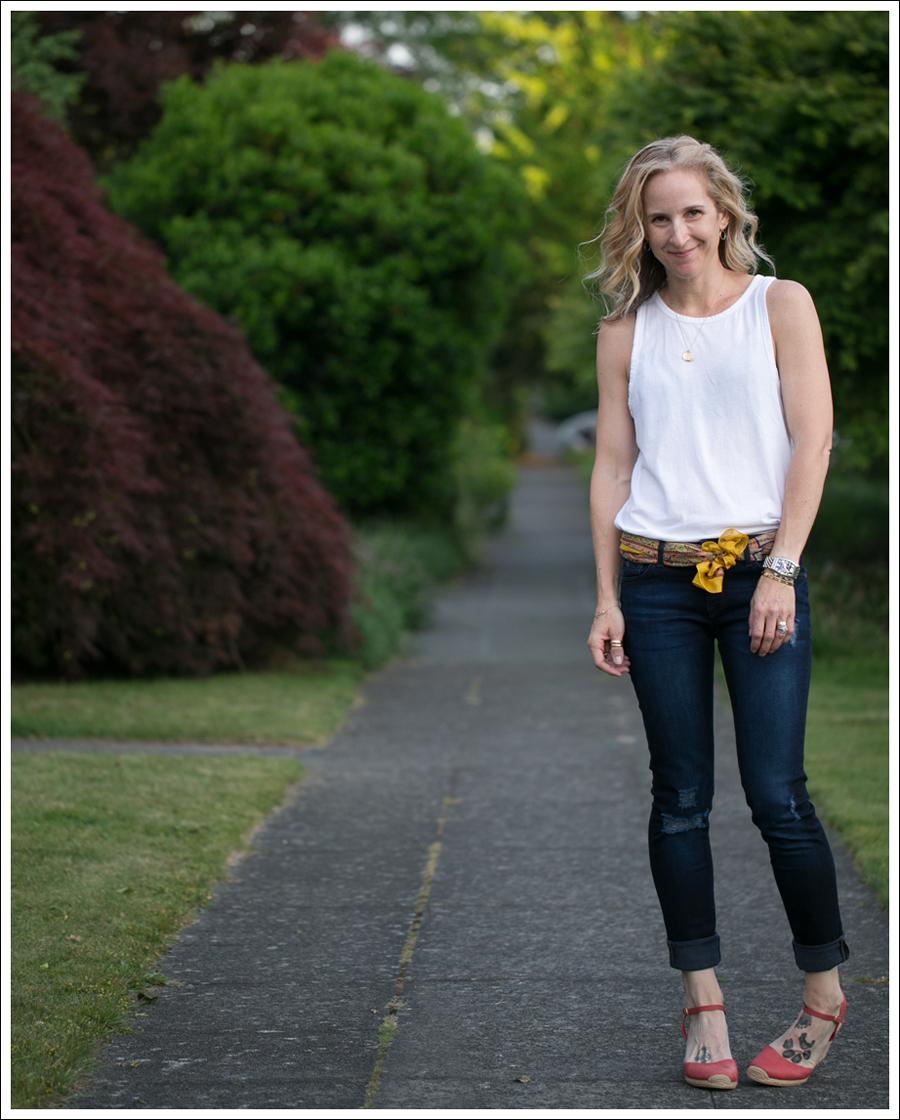 Blog Zara Muscle Tank Vintage Silk Scarf DL1961 Amanda Skinny Seville Me Too Espadrill Wedges-1