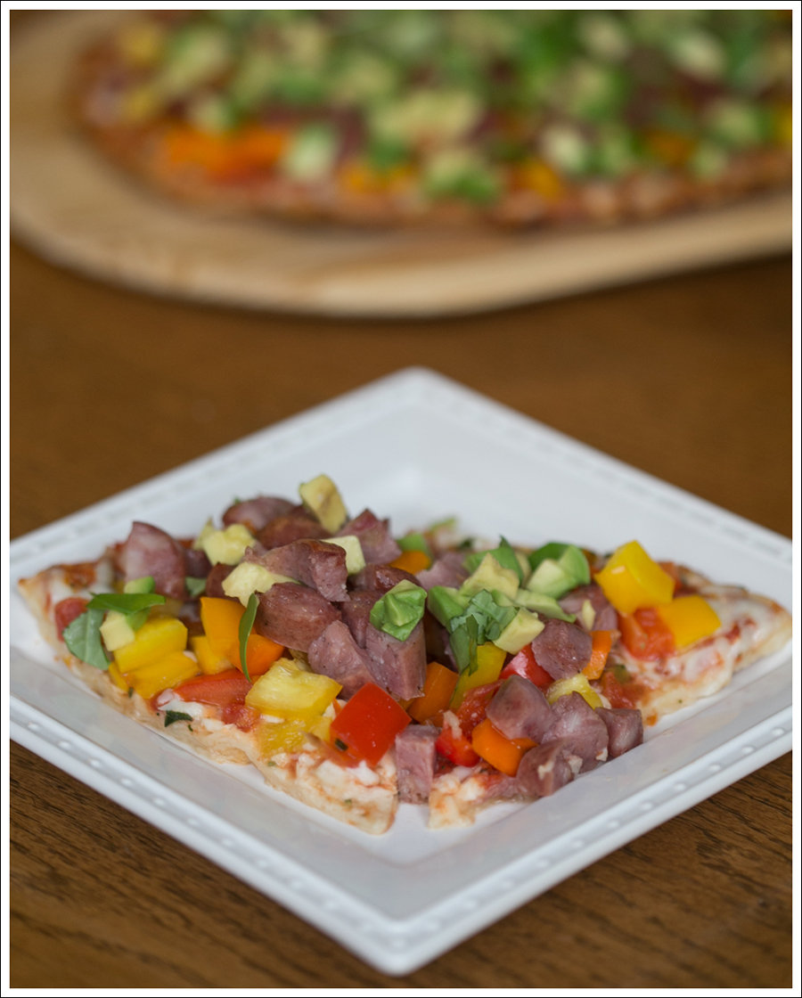 blog Costco Healthy Cheese Pizza Aidells Chicken Sausage Peppers Avocado Basil-1