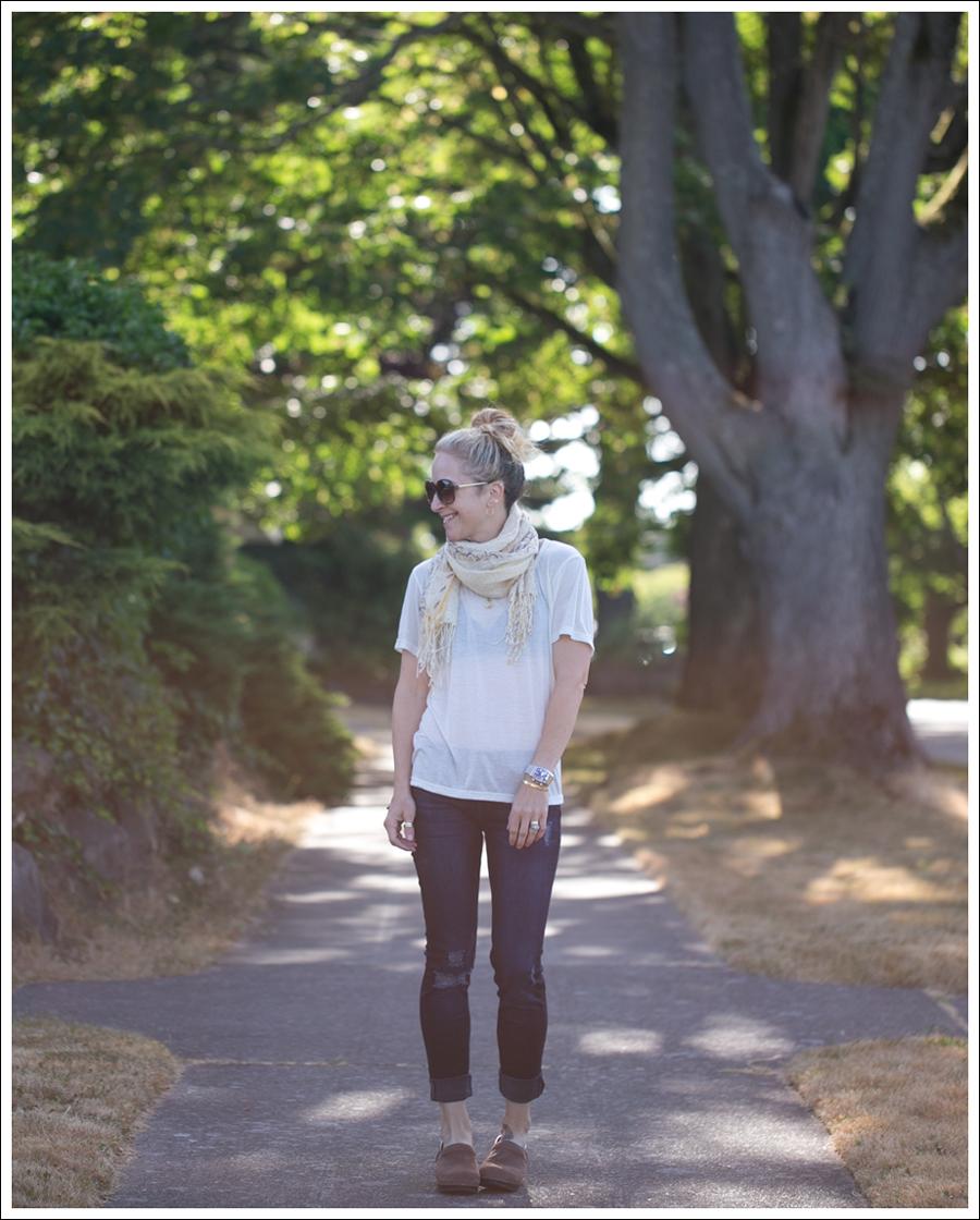Blog StyleMint Tee Scarf DL1961 Amanda Skinny Seville Dansko Brown Clogs-1