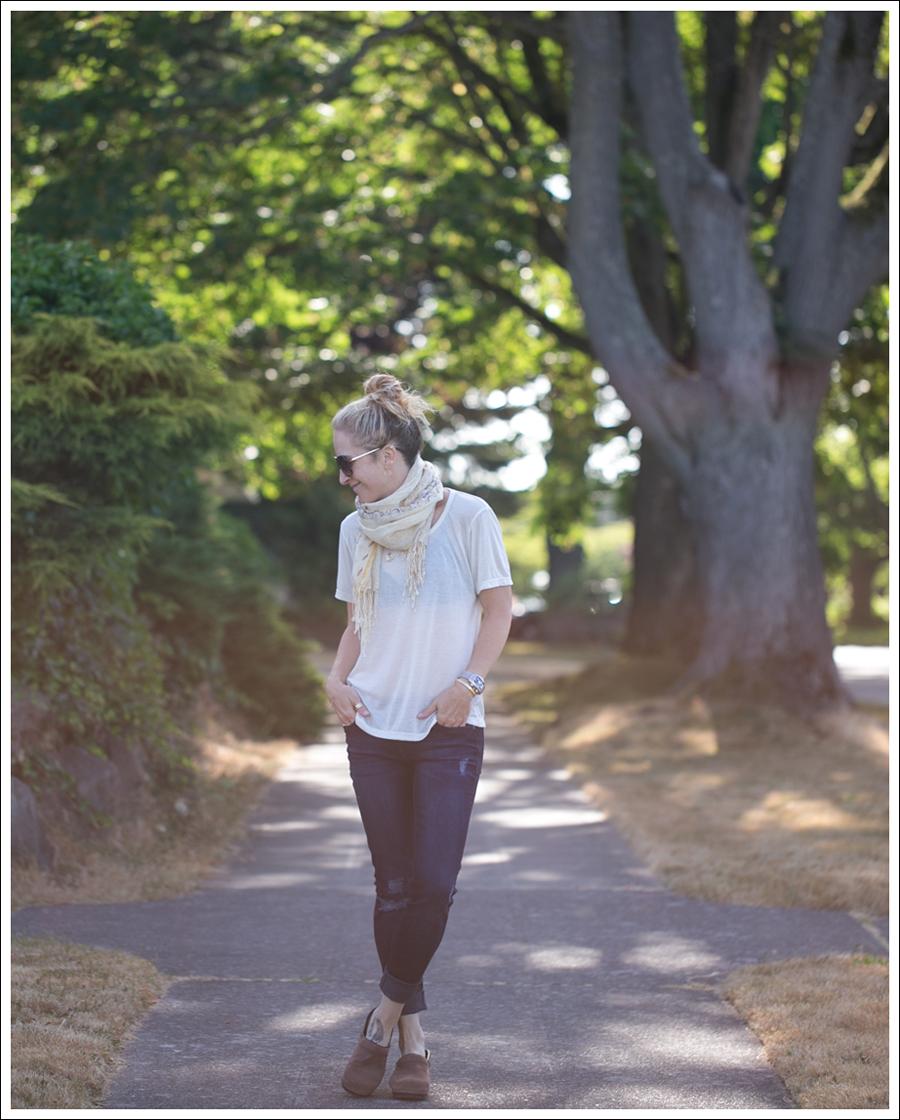 Blog StyleMint Tee Scarf DL1961 Amanda Skinny Seville Dansko Brown Clogs-3