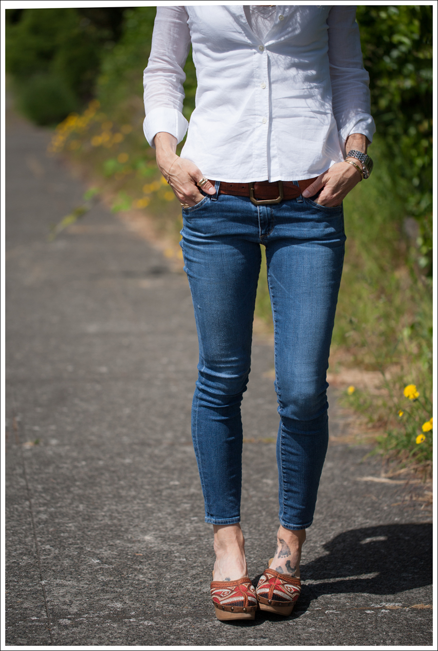 Blog Theory White Button Down AG Cropped Skinny Jeans Carlos Santana Tribe Clogs-2