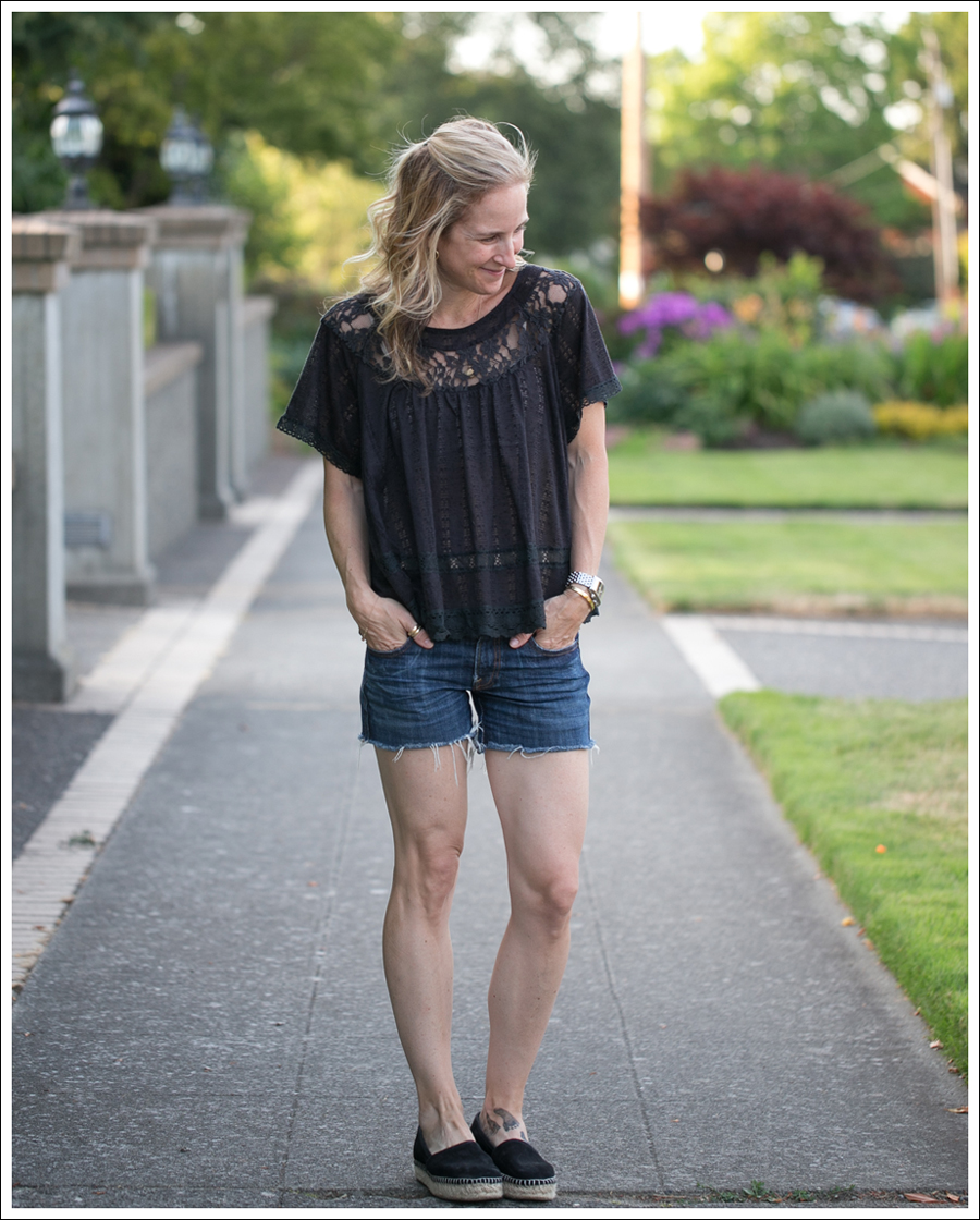 Blog Free People Dandelion Lace Pointelle Top COH DIY Cutoffs ShoeMint Christie Espadrilles-1