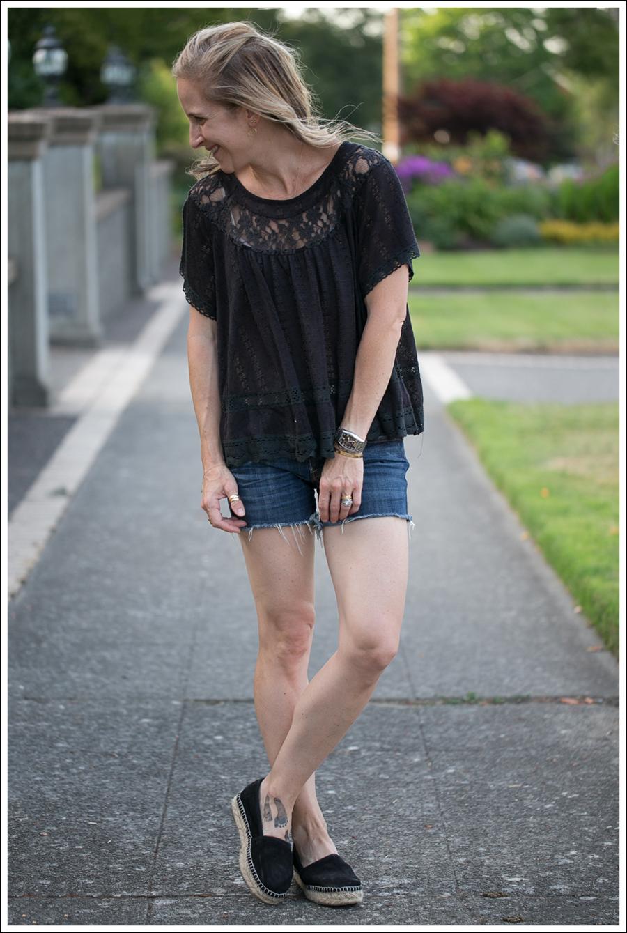 Blog Free People Dandelion Lace Pointelle Top COH DIY Cutoffs ShoeMint Christie Espadrilles-2