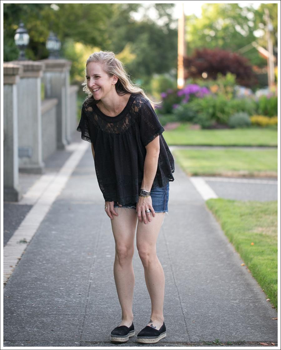 Blog Free People Dandelion Lace Pointelle Top COH DIY Cutoffs ShoeMint Christie Espadrilles-4