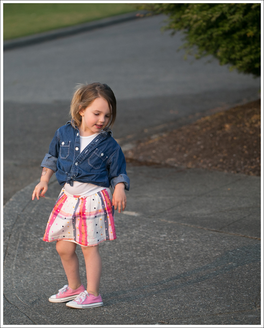 Blog Hanna Andersson Denim Shirt American Apparel Tank Lands End Skirt Pink Converse-10