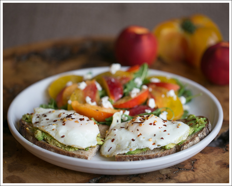Blog Heirloom Tomato Nectarine Goat Cheese and Arugula Salad with Avocado Toast and Fried Egg-2