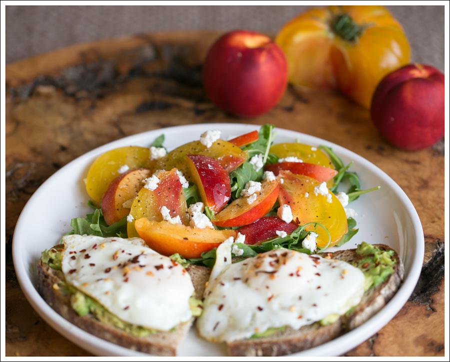 Blog Heirloom Tomato Nectarine Goat Cheese and Arugula Salad with Avocado Toast and Fried Egg-3