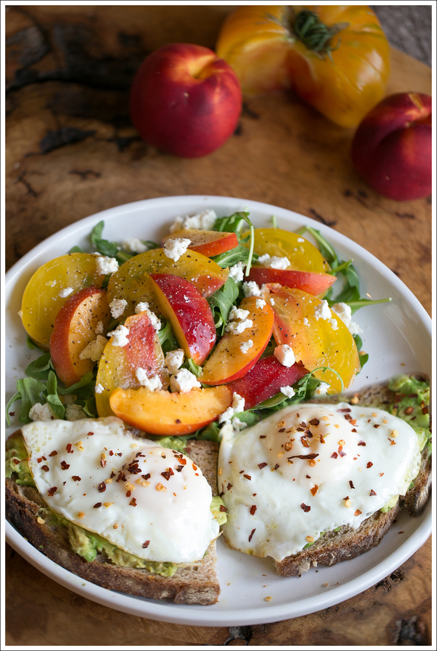 Blog Heirloom Tomato Nectarine Goat Cheese and Arugula Salad with Avocado Toast and Fried Egg-6