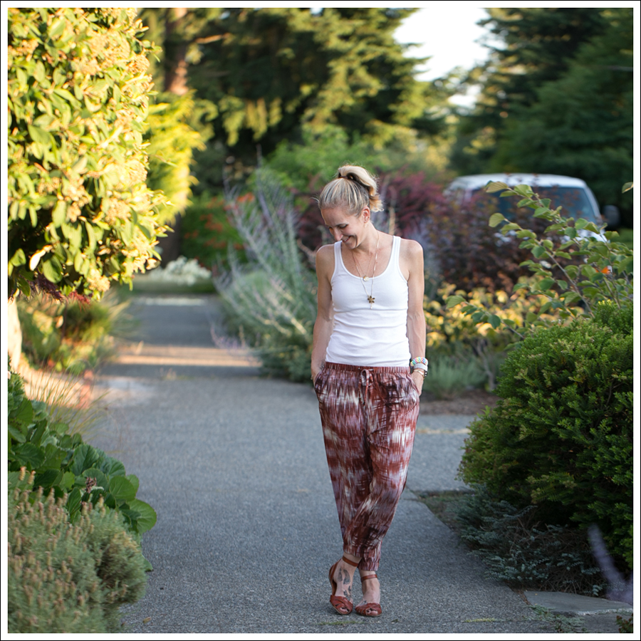Blog HM White Tank Elizabeth and James Ruben Drawstring Silk Pants Target Shauna Huarache Sandals-2