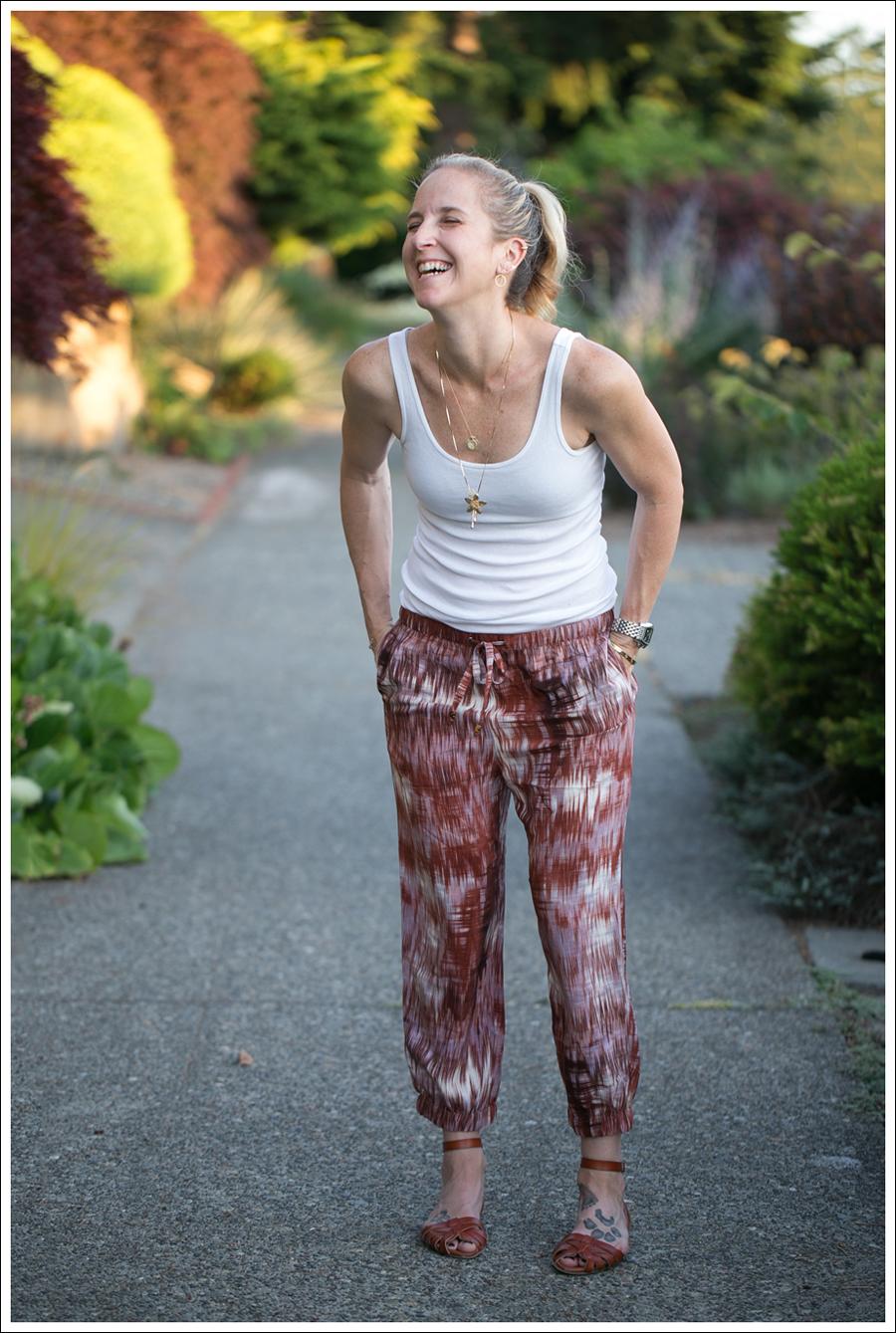 Blog HM White Tank Elizabeth and James Ruben Drawstring Silk Pants Target Shauna Huarache Sandals-3