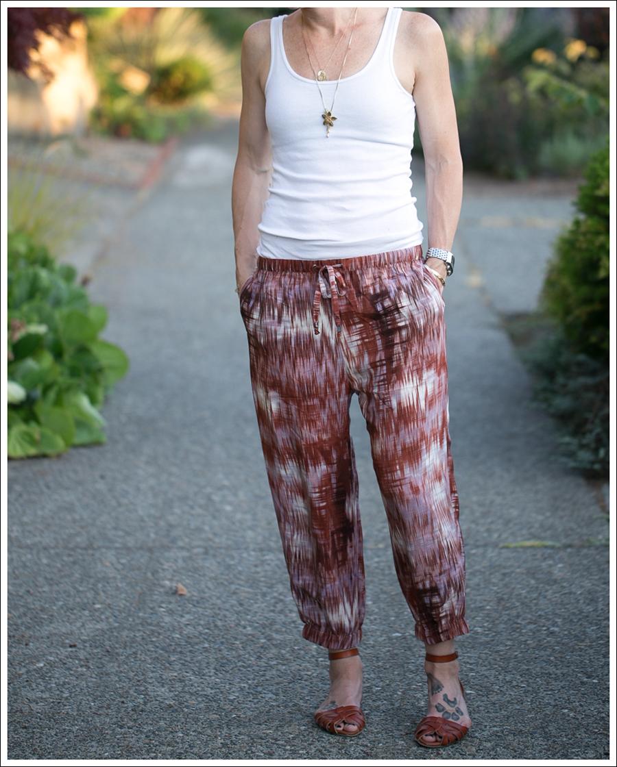 Blog HM White Tank Elizabeth and James Ruben Drawstring Silk Pants Target Shauna Huarache Sandals-4