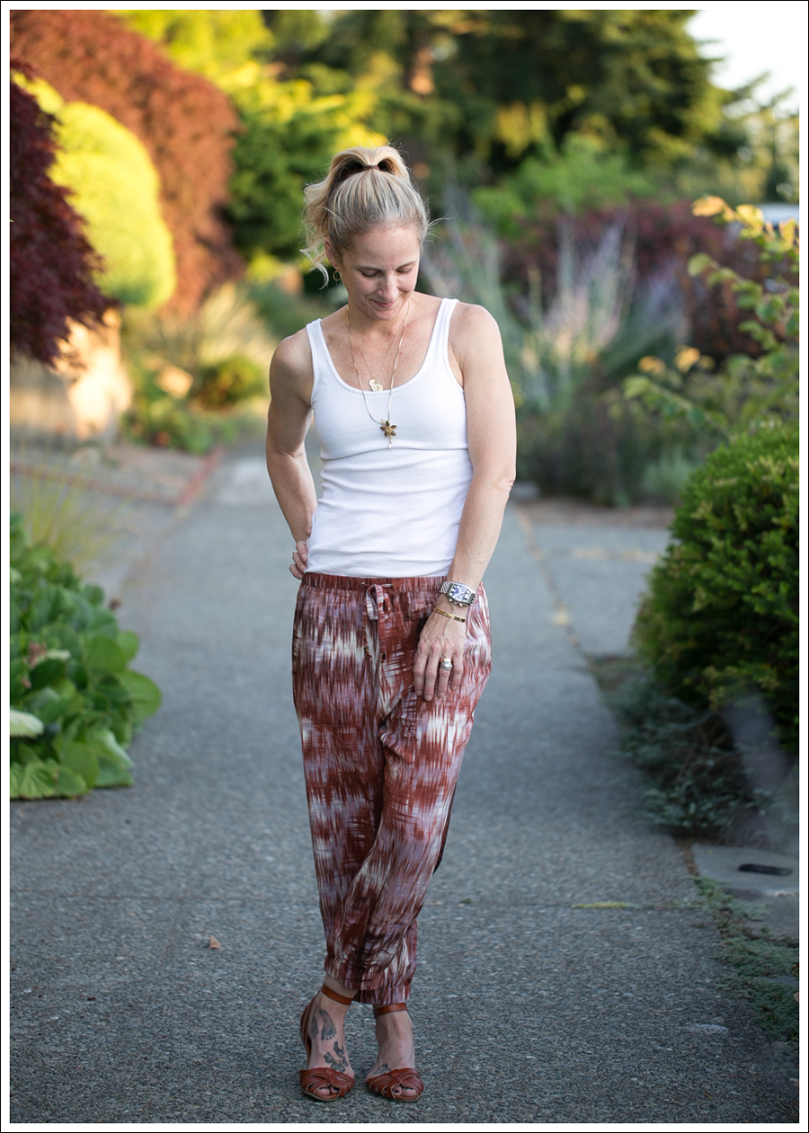 Blog HM White Tank Elizabeth and James Ruben Drawstring Silk Pants Target Shauna Huarache Sandals-5